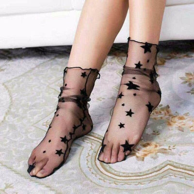 Summer Sexy Retro Lace Floral Mesh Women Girl Socks Elastic Fashion Lady Soft Short Socks Female Crystal Silk Ultrathin sock - 9020shop