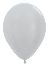 "11"" Metallic Silver Latex Balloon"