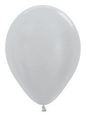 "9"" Metallic Silver Latex Balloon"