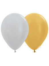 "11"" Metallic Gold/Silver Latex Balloon"