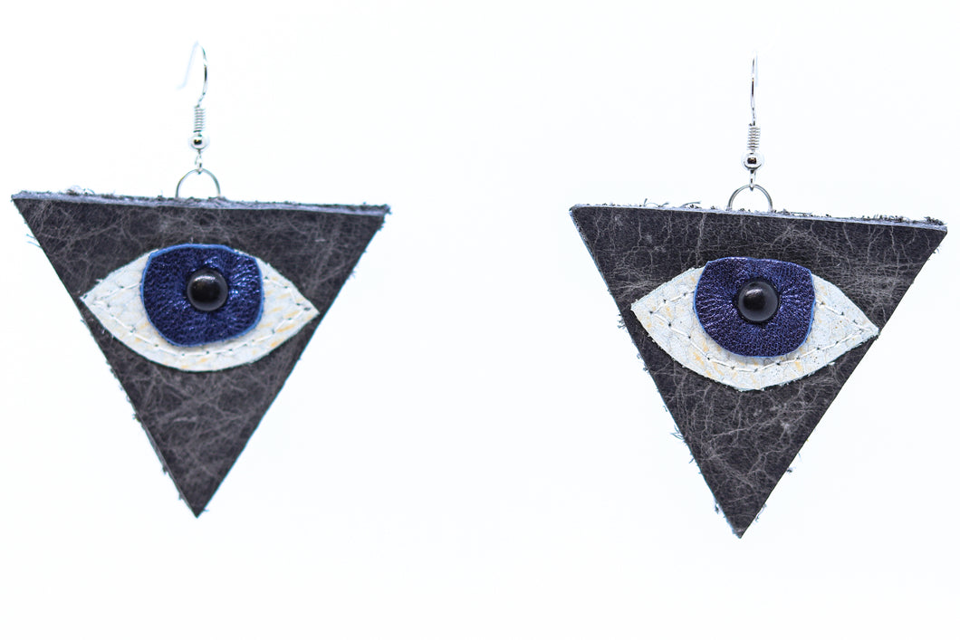 Scrap Leather Earring: Eye Logo