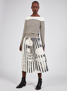 Black and Cream Printed Pleated Skirt - OKIE DUCKY