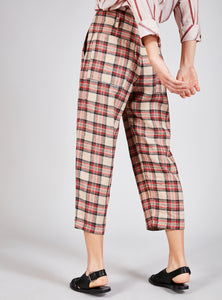 High Waist Check Trousers - CLANDESTIN PLAID