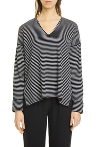 Black White Stripe Fine Organic Cotton Silk V-Neck Box Top Sweater