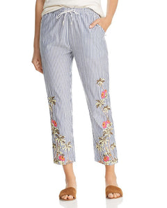 Scotch & Soda Blue Stripe Pant with Tropical Embriodery