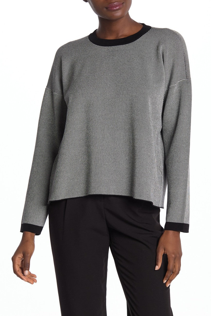 Eileen Fisher Sleek Tencel Black White Stripe Lightweight Sweater