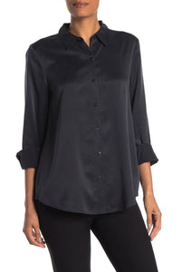 Charcoal Sandwashed Silk Charmeuse Classic Collar Shirt