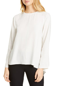 Bone Crewneck Asymmetrical Silk Georgette Crepe Top