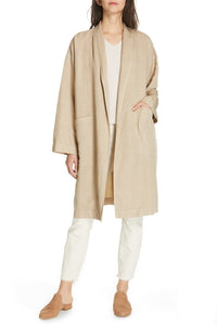 Khaki Tencel Linen Long Open Front Hi Collar Coat