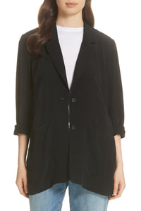 Black Tencel Viscose Crepe Notch Collar Long Jacket