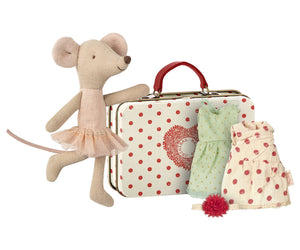 Ballerina Mouse with 2 Dresses in Suitcase