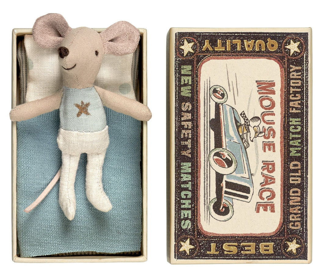Little Brother Mouse In Box - Blue Silver Star, White Bottom (A)