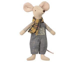 Winter Maileg Father Mouse in Bag, Stuffy