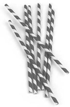 Load image into Gallery viewer, Grey Stripe Paper Straws  (144 per box)