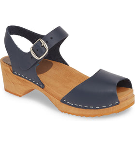 Anja Navy Leather Clog