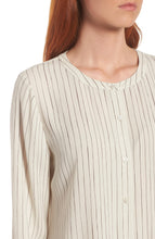 Load image into Gallery viewer, Bone Painterly Stripe Silk Crepe Round Neck Long Shirt