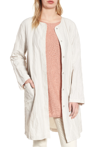 Eileen Fisher Rumpled Organic Cotton Steel Round Neck Bone Summer Jacket