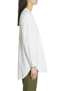 Ivory Soft Organic Cotton Twill Mandarin Collar Shirtdress