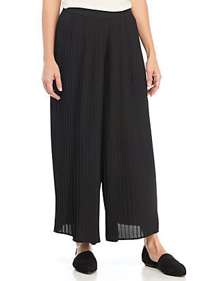 Eileen Fisher Black Knife Pleated Recycled Polyester Wide Ankle Pant
