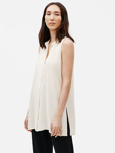 Mandarin Collar  Sleeveless Shirt (Bone or Black)