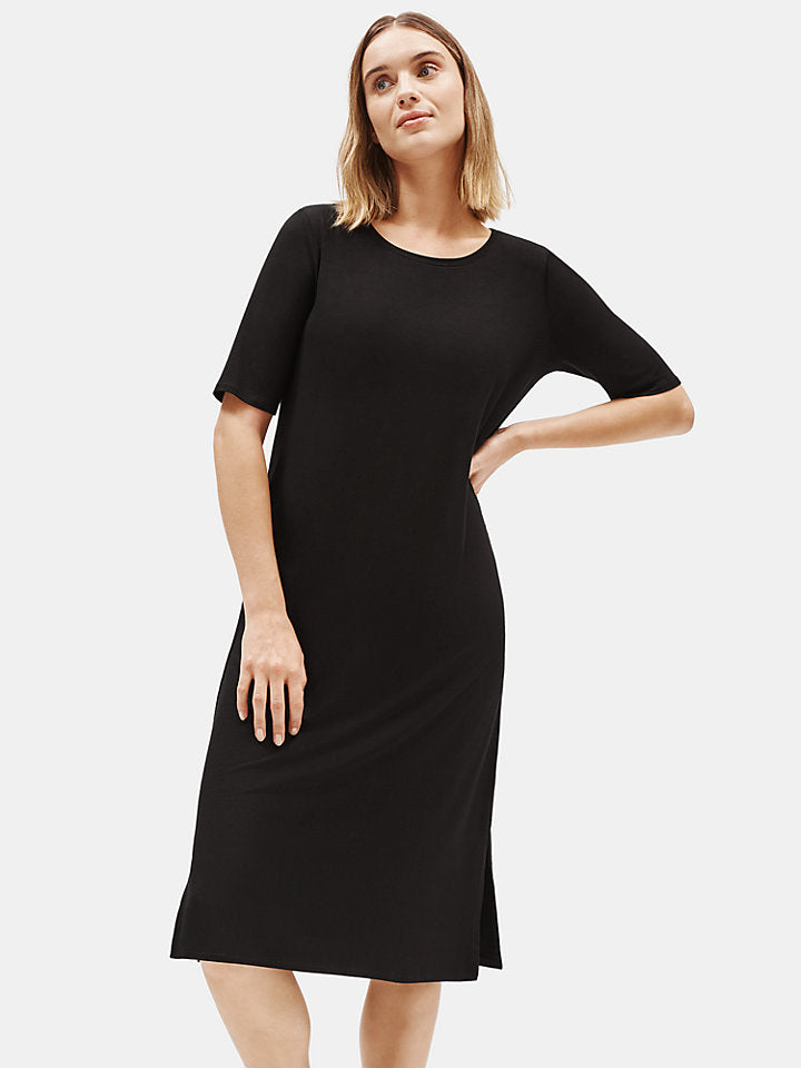 Black Easy Dress Round Neck with Side Slit