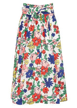 Load image into Gallery viewer, Tara Jarmon White Floral Button Tie Skirt