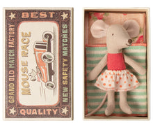 Load image into Gallery viewer, Little Sister Mouse in Box - Raspberry with Light Pink Dot Skirt (P)