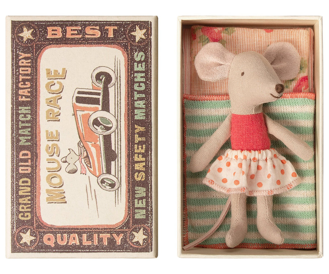 Little Sister Mouse in Box - Raspberry with Light Pink Dot Skirt (P)