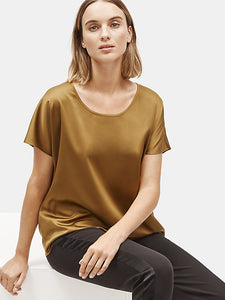 Gold Recycled Polyester Satin Scoop Neck Box Top