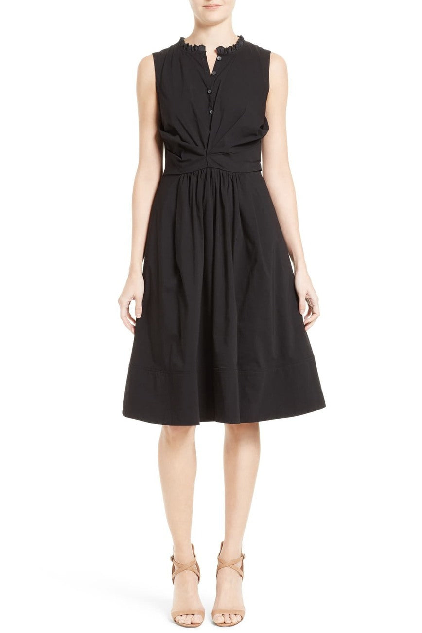 Rebecca Taylor Black Poplin Wrap Dress