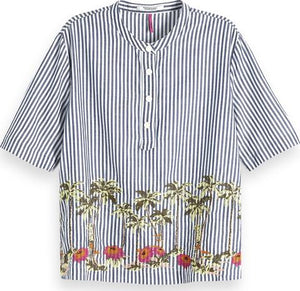 Scotch & Soda Blue Stripe Top with Tropical Embriodery