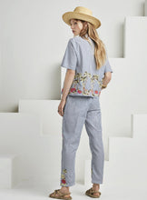 Load image into Gallery viewer, Scotch & Soda Blue Stripe Top with Tropical Embriodery