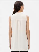Load image into Gallery viewer, Mandarin Collar  Sleeveless Shirt (Bone or Black)