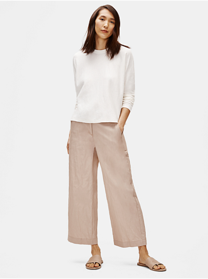 Bramble Wide-leg Cotton Steel Ankle Pant