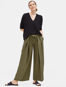Eileen Fisher Olive Tencel Twill Wide-leg Pant with Belt
