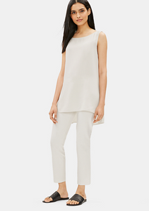 Eileen Fisher Bone Slim Stretch Crepe Ankle Pant with Thin Yolk