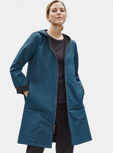 Load image into Gallery viewer, Storm Organic Cotton Nylon Reversible Hooded Knee Length Rain Jacket
