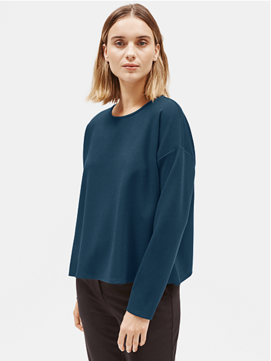 Storm Blue Flex Tencel Ponte Box-Top