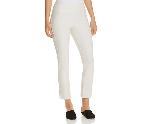 Eileen Fisher Bone Slim Stretch Crepe Ankle Pant with Wide Yolk
