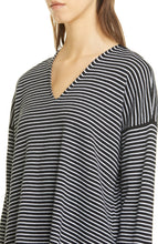 Load image into Gallery viewer, Black White Stripe Fine Organic Cotton Silk V-Neck Box Top Sweater