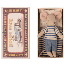 Load image into Gallery viewer, Big Brother Mouse in Matchbox - Blue Stripe (STR), Maileg