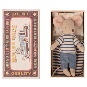 Big Brother Mouse in Matchbox - Blue Stripe (STR), Maileg