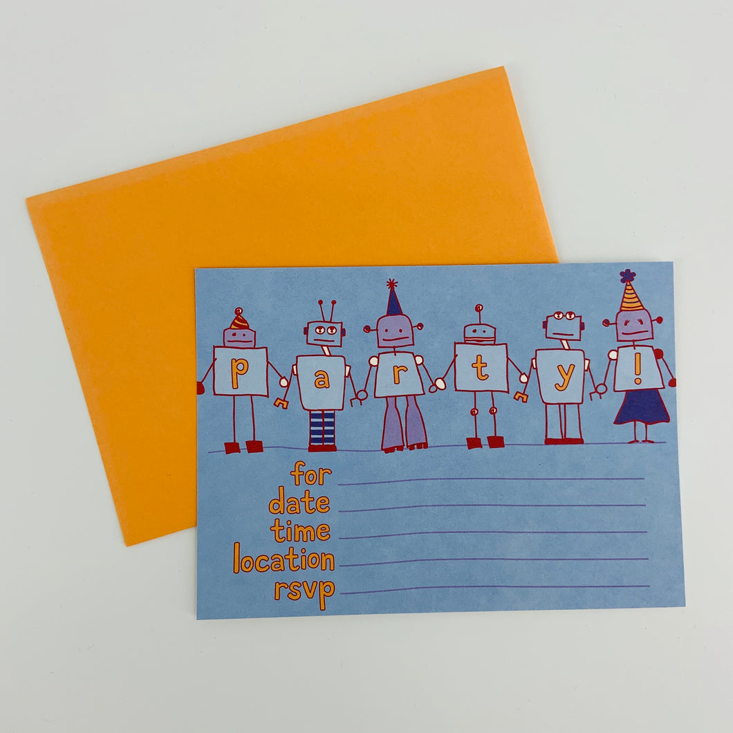 Robot Write-in Party Invitations (8 cards and envelopes)