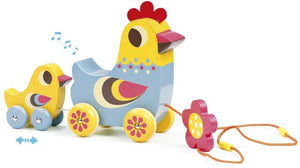 """La Poule et le Poussin"" Hen and Chick Pull Along Musical Toy"