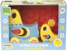 "Load image into Gallery viewer, ""La Poule et le Poussin"" Hen and Chick Pull Along Musical Toy"