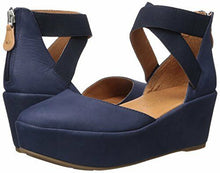 Load image into Gallery viewer, Nyssa Navy Wedge with Elastic Sandal