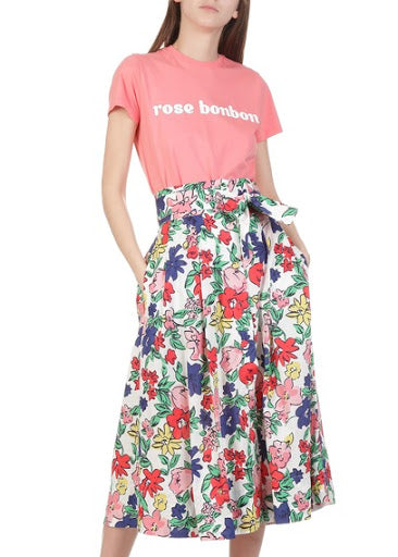 Tara Jarmon White Floral Button Tie Skirt