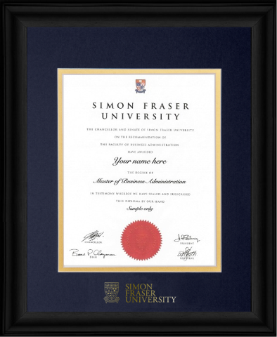 SFU Executive Black Frame Foil Logo