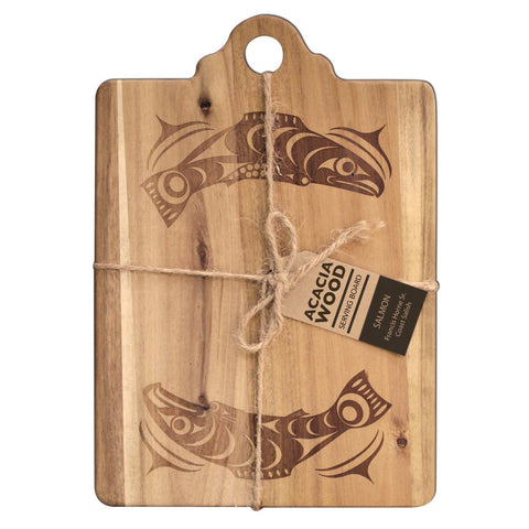 Acacia Wood Salmon Serving Board & Coasters w/potholder & Tea Towel