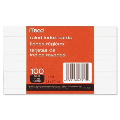Index Cards 3X5 Ruled White